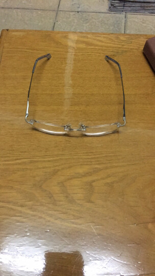 老爷子(LaoYeZi)双光无框高清树脂老花镜男女款 远近两用老人老花眼镜 7006 银色透明双光150度 晒单图