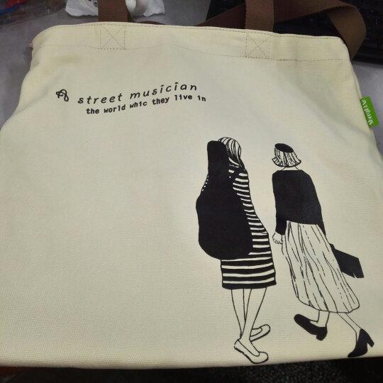 千百惠 简约小清新竖条纹帆布包女文艺学院风单肩包手提包购物包袋 灯泡鸟 晒单图