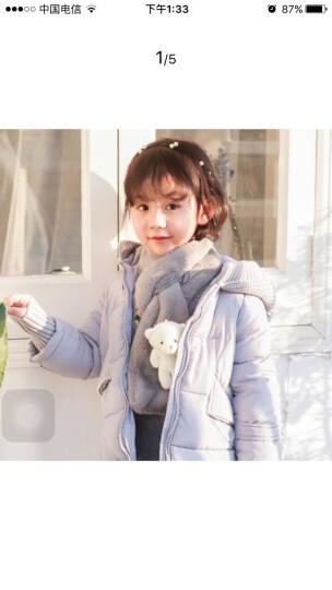 点魅 春季新款毛绒儿童围巾创意卡通仿羊绒男女童宝宝保暖围脖 毛围巾女士春季保暖加厚交叉 儿童款-白熊灰色 晒单图