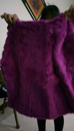温湿度(HUMITURE)2017秋冬新款兔毛皮草女装短款外套 海宁皮草女韩版修身8803 粉紫色 XL 晒单图