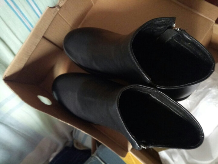 2018定制 冬季单靴时尚欧美马丁靴粗跟女鞋 黑色 40 晒单图