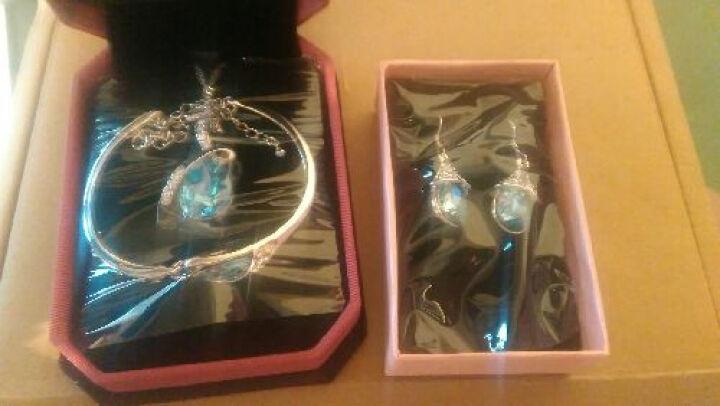 莎拉公主 人工水晶耳坠女耳环 时尚饰品耳钉  海蓝系列 花蕊 晒单图