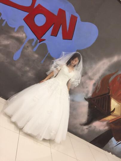 TBG婚纱2019新款新娘结婚礼服森系白色齐地显瘦一字肩拖尾梦幻公主春季女 白色 齐地披肩套餐 S 晒单图