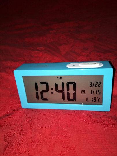 优慕(YM)闹钟 个性简约创意夜光静音闹钟 卧室床头LED学生电子钟 蓝色+电源线 晒单图