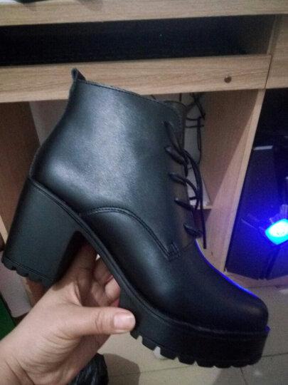 圣诗丹特秋冬女短靴马丁靴女靴子女马丁靴鞋子粗跟高跟厚底防水台马丁靴 女 黑色-绒里 36 晒单图