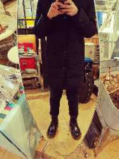 罗蒙2017羽绒服男中长款冬季带帽加厚休闲时尚修身男士外套 黑色 L/175 晒单图