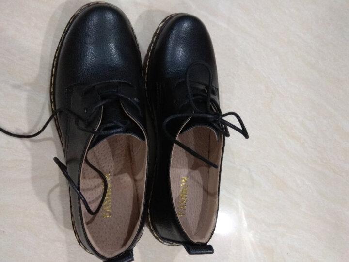 单鞋女真皮2019春秋新款厚底粗跟女皮鞋布洛克中跟英伦休闲鞋女 2369 黑色 37码 晒单图