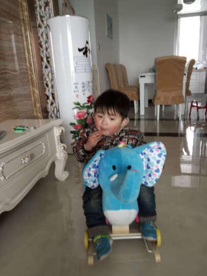 卡通音乐动物摇马 实木摇摇马 两用婴童学步木马 早教益智摇摇车玩具生日周岁礼物 1-3 蓝龙 实木带踏板 晒单图