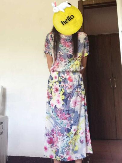 山迪欧美2018夏季桑蚕丝宽松砂洗真丝松紧腰新款印花长裙女连衣裙 花色 M 晒单图