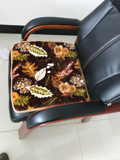 拓时代办公室坐垫加厚餐椅垫防滑毛绒秋冬学生椅子座垫透气汽车垫沙发垫电脑椅垫办公室坐垫 法兰绒防滑-咖啡树叶花 梯形40cm*40cm 晒单图
