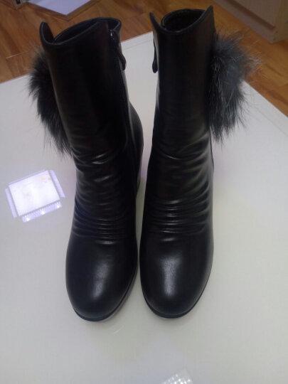 意米思粗跟女靴高跟圆头中筒靴防水台两用套筒长靴子冬季新款英伦女士中短筒大码女靴子 莫6D651红色 40 晒单图