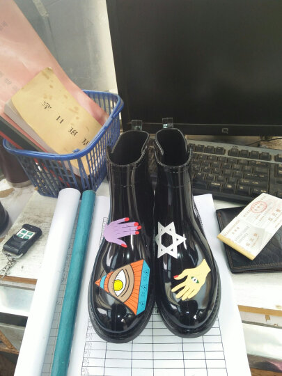 梓宁 透明防滑时尚防水鞋加绒棉雨鞋雨靴胶鞋套鞋水靴女短筒保暖成人x 透明黑 36 晒单图