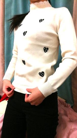 伍格曼 半高领套头毛衣女2018春装新款韩版时尚线衣宽松百搭保暖打底针织衫女上衣 米白色 均码 晒单图