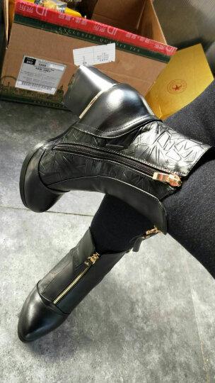 名曼 短靴女雪地粗跟中筒高跟单鞋女鞋休闲棉鞋马丁防水台秋冬皮鞋子 黑色加绒 34 晒单图
