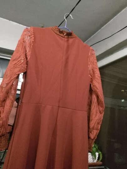 优依魅长袖雪纺连衣裙2018春装新款韩版修身大码女装针织性感连衣裙LYQ839 红色 XXL 晒单图