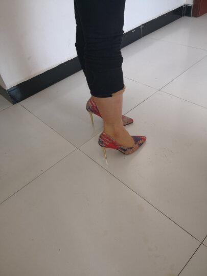 诺雷.登 高跟鞋女 2017春季新款尖头编织纹浅口套脚细跟超高跟鞋女士单鞋 绿色 37 晒单图