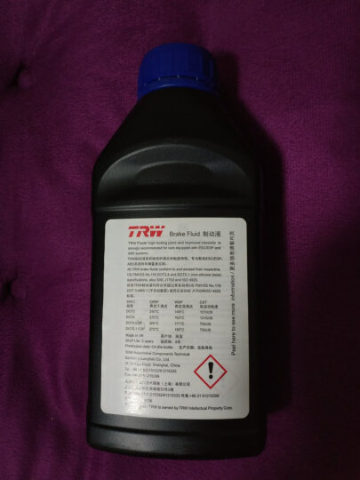 天合TRW刹车油 制动液 DOT4 500MLPFB450英国原装进口干沸点270℃,湿沸点163℃ 晒单图