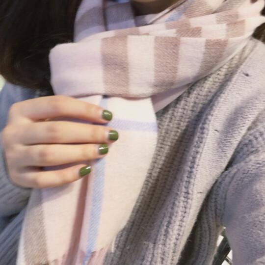江南故事羊毛围巾女冬季混纺格子男女士围巾冬季情侣款保暖披肩围脖女 177070 粉色 晒单图