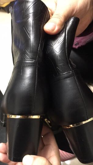 名曼2019秋冬新款马丁靴女圆头高跟侧拉链粗跟女短靴防水台女靴子金属装饰 6396黑色 38 晒单图