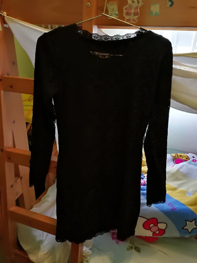 诺言斯密 打底衫女加绒中长款蕾丝衫长袖玫瑰花边领修身秋冬保暖衣小衫全身加绒 藕色 2XL 晒单图