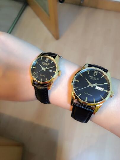雷克斯ROCOS手表男士手表全自动机械表男表时尚简约防水皮带情侣手表 金壳黑面棕带 晒单图