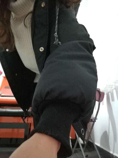 初构 棉服女韩版宽松中长款冬装2019潮流休闲学生百搭连帽加厚保暖外套女 黑色 S 晒单图