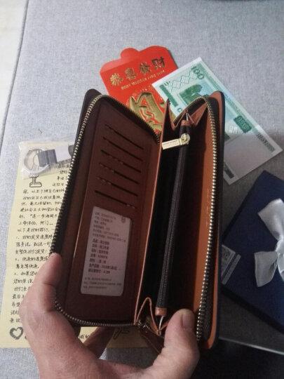 百非特 钱包男士长款拉链真皮大容量钱夹多功能牛皮手拿包商务手机包 咖色-腕带可拆卸 晒单图