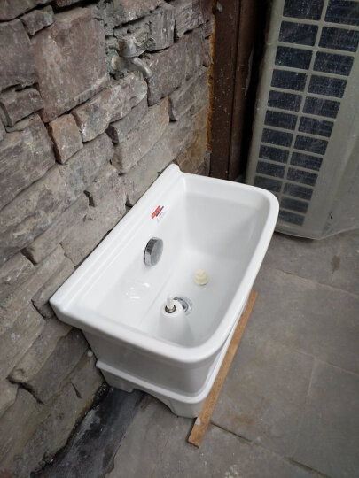 伊诺尼陶瓷拖把池阳台双驱动洗地拖盆卫生间大号方形拖布池墩布池 全铜下水 晒单图