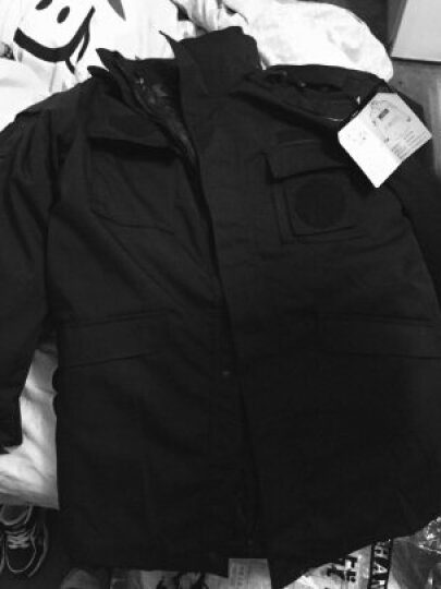 役狼 冬季保安服棉衣外套保安服大衣长袖保安服套装黑色特勤作训服战术执勤服防刮耐磨 保安服棉服大衣-网格款 165 晒单图