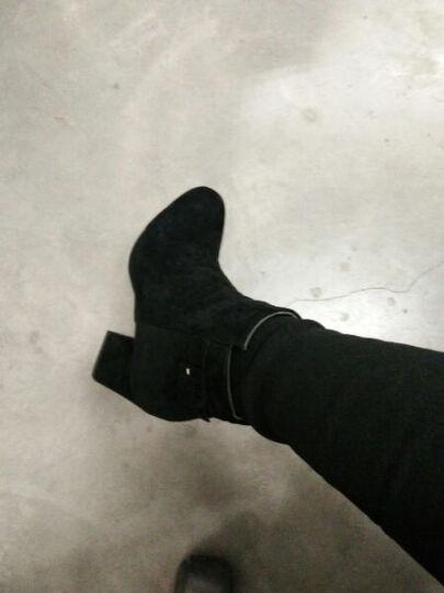 佐舜(ZUOSHUN)2019秋冬磨砂短靴女大码切尔西女靴粗跟马丁靴女韩版短筒踝靴 黑色 37 晒单图
