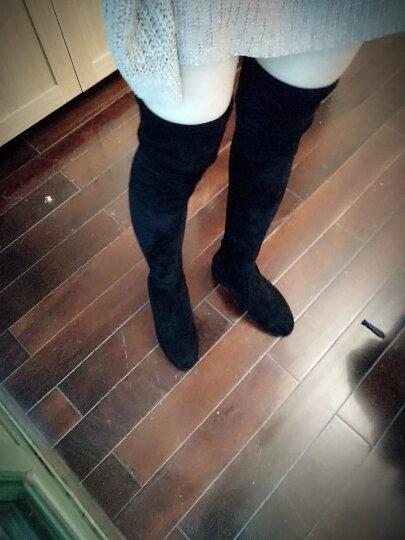 名婉丽人过膝长靴女尖头中跟弹力瘦腿高筒靴加绒长筒靴粗跟高跟显瘦骑士靴子 黑色8CM高跟(加绒) 38 晒单图