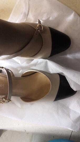 卡迪娜 粗跟凉鞋女夏季新款羊皮革撞色中后空单鞋子女鞋KLM82501 米色 37 晒单图