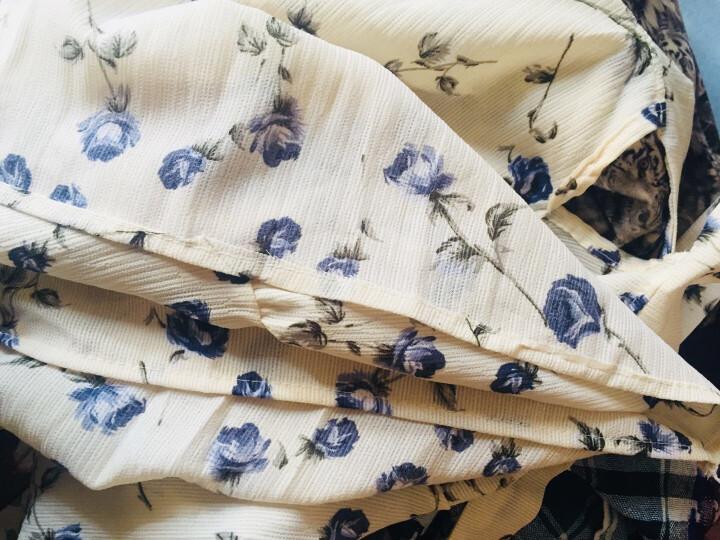 KR连衣裙  春季2018年新款碎花连衣裙中长款收腰显瘦雪纺裙 酒红色 XL 晒单图