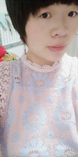 莎妮朵罗大码女装T恤女 胖mm春装新款胖妹妹收腰显瘦花边喇叭袖上衣14315(无) 浅紫色 XL建议100-115斤穿着 晒单图