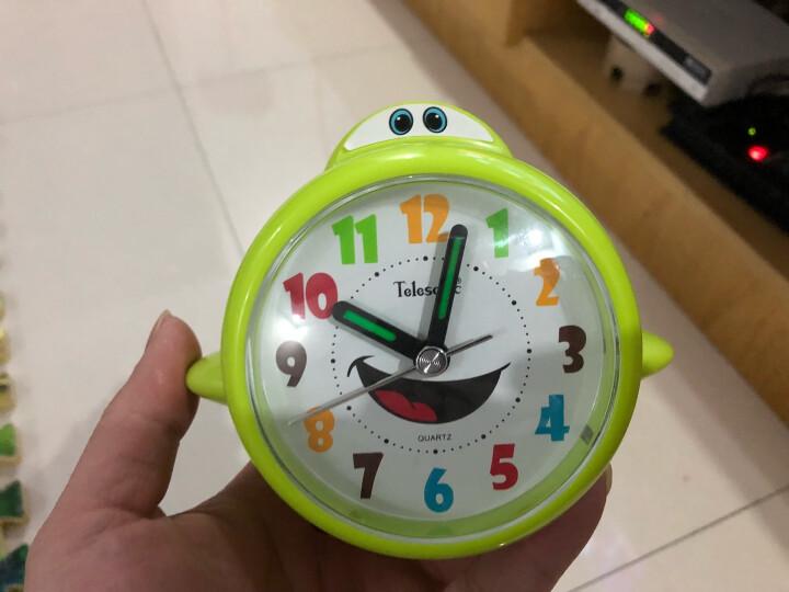 天王星(Telesonic)闹钟儿童卡通静音飞机小闹钟创意学生床头闹钟带夜光石英钟 A1121-3绿色 晒单图