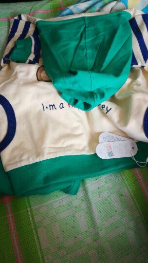 南极人(Nanjiren)儿童卫衣套装2018春季新款潮男宝宝运动休闲装 调皮北极熊-豆绿 80CM 晒单图
