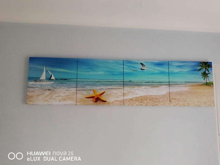 立客美 海边沙滩风景客厅装饰画地中海风格冰晶玻璃壁画卧室床头三联画沙发背景墙无框画海星贝壳 M款 一整套价格 80*80   25MM纳米冰晶玻璃 晒单图