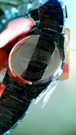 【限量秒杀】宾格BINGER手表男士男表石英表运动时尚三眼计时机械钢化夜光防水旋风S717 黑钢黑蓝面3点标志 晒单图