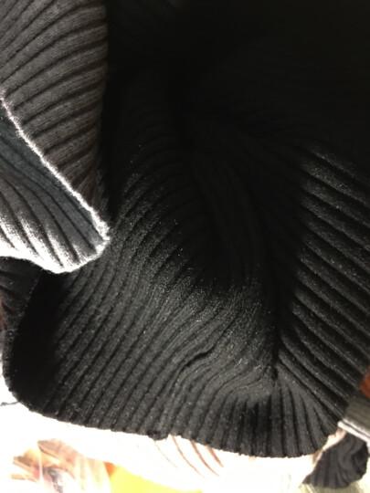 HMS红曼裳长袖针织衫女纯色毛衣厚款套头中高领纯色打底衫百搭女士秋冬装潮 时尚款(黑色) 晒单图