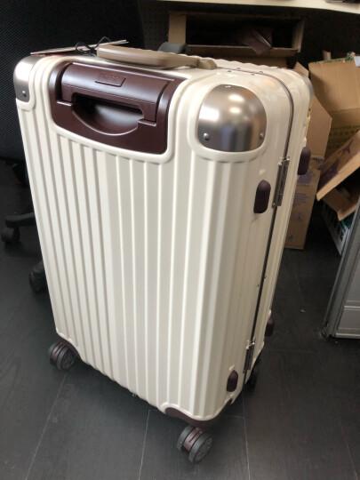 OCCA新款纯PC旅行箱女铝镁合金包角拉杆箱万向轮奶咖色行李箱子 奶咖 29英寸(3锁扣) 晒单图
