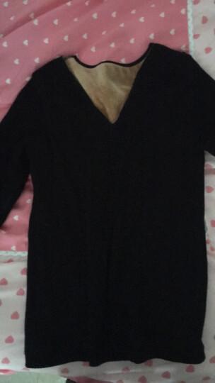 保暖内衣 女单件加绒加厚蕾丝紧身保暖上衣 莲花V领-珍珠粉 上衣 均码-适合体重80-135斤 晒单图