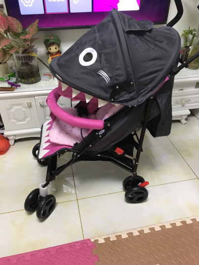 呵宝婴儿推车超轻便折叠可坐躺宝宝伞车儿童推车 鲨鱼四季款-灰色(可平躺) 晒单图