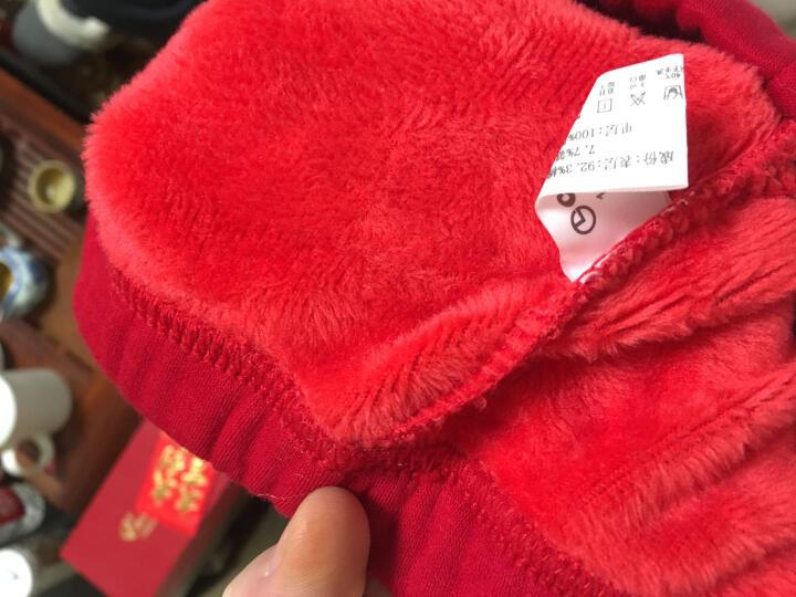 金利来女士保暖内衣女套装加绒加厚圆领打底秋衣秋裤保暖套装女 4010黄金暖绒-红色 女 L(165/90) 晒单图