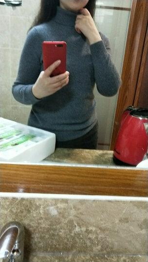 科蒙博卡 秋冬款 女纯羊绒衫 纯色修身打底衫山羊绒保暖高领毛衣 酒红色 95/S- 晒单图