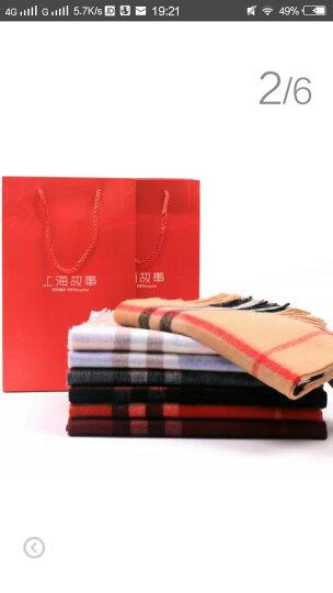 上海故事围巾女秋冬季经典英伦格子羊毛围脖男女情侣款礼盒装 179029 枣红色 晒单图