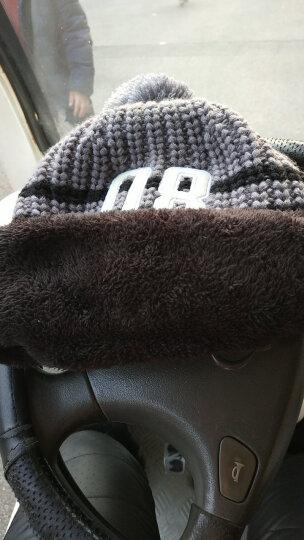 糖果涩 韩国加厚骑行毛线帽子潮女可爱冬季加绒护耳帽骑车保暖围脖一体帽 灰色 晒单图
