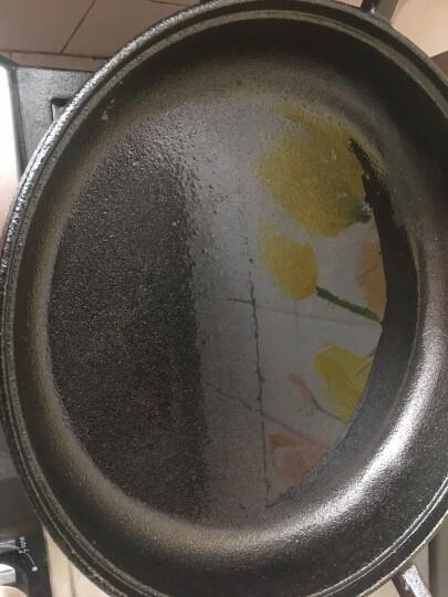 特立安福(TRIONFO) 铸铁平底煎锅 不易粘无涂层 电磁炉燃气通用 生铁锅加厚烙饼锅 30cm木柄煎锅送木盖 晒单图