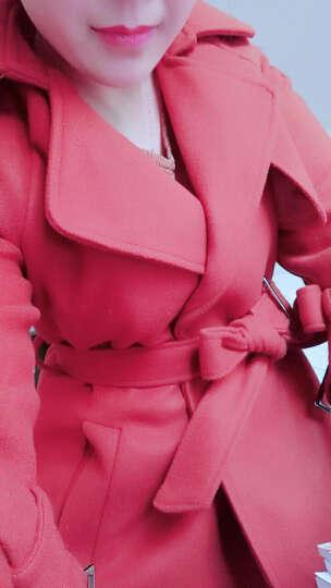 乔尼 毛呢大衣女2017秋冬装新款韩版呢子大衣长款宽松修身显瘦收腰毛呢外套女 军绿色 M 晒单图