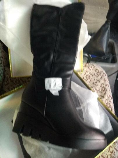 古奇天伦2018皮鞋女 秋冬新款冬靴高筒靴女鞋高跟弹力女靴长筒靴粗跟女鞋子长靴 马丁靴 8539黑色 40码 晒单图