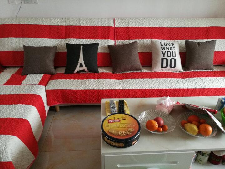 福至 欧式条纹亚麻沙发垫凉垫四季通用皮沙发垫套装组合防滑加厚沙发坐垫 麻纱红条 90*160CM沙发垫一片 晒单图